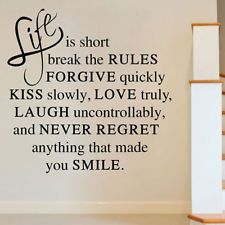 Life Is Short Love Quote Wall Sticker Art Vinyl Decal Home Room Decor Removable