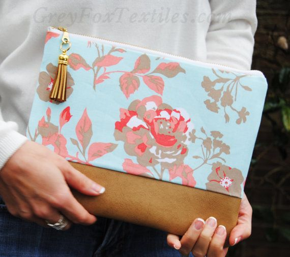 FLORAL CLUTCH floral zipper pouch coral and by GreyFoxTextiles