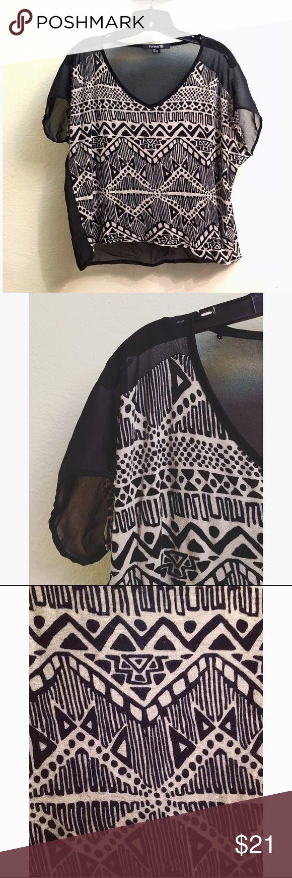 Tribal Top Tribal black n cream top with sheer seethrough back Tops Blouses