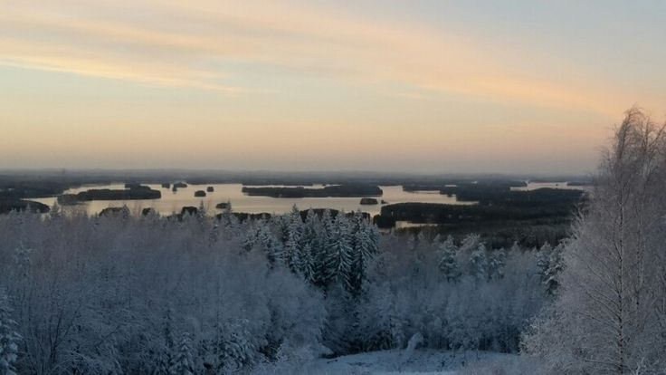 Christmas  eve  in the birdtower. View over Kallavesi lake ar Kuopio Finland