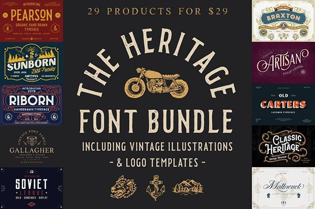 We Just Released The Heritage Font Bundle One Of Our Finest Vintage Collections Yet This Deal Features Over 100 Font Bundles Vintage Fonts Vintage Typography