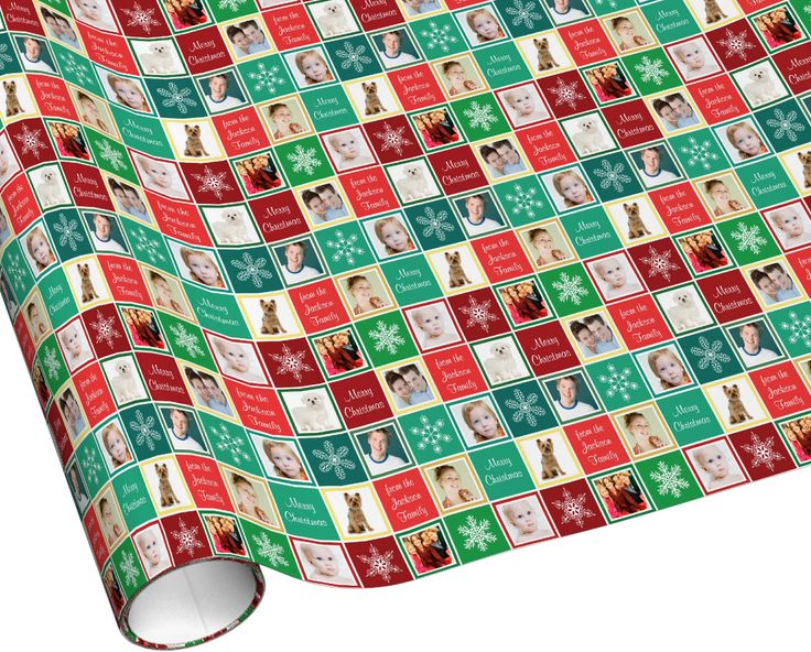 Christmas family photos gift wrap. Add eight photos and your own family name and greeting!