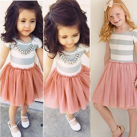 New Fashion Patchwork Kids Girls Princess Flower Tutu Dress Party Cute Formal Striped Ball Dresses Clothing For 2 4 6 8 10 Years