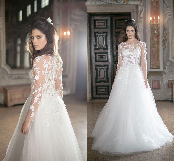 2016 Vintage Tarik Ediz Fl Liques Wedding Dresses Pearls Illusion Neckline Backless Long Sleeves Corset