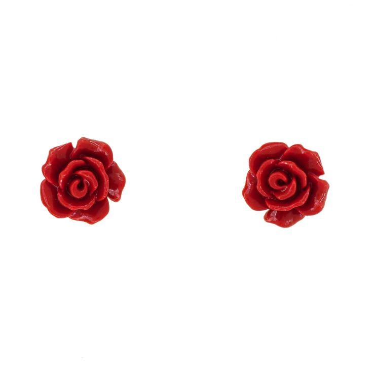 Red Coral Flower Stud Earrings