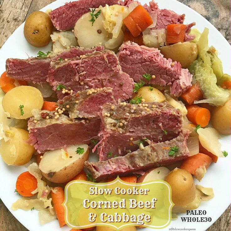 Known as the traditional or classic Irish dish for St. Patrick's Day, this slow cooker version of corned beef and cabbage is super easy & healthy.