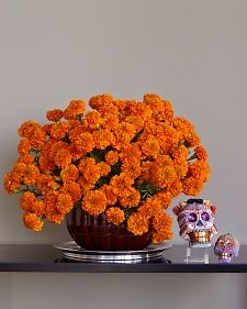 Marigolds are another traditional symbol. Their scent is strong, so Kevin recommends using them as a decorative accent rather than a centerpiece.