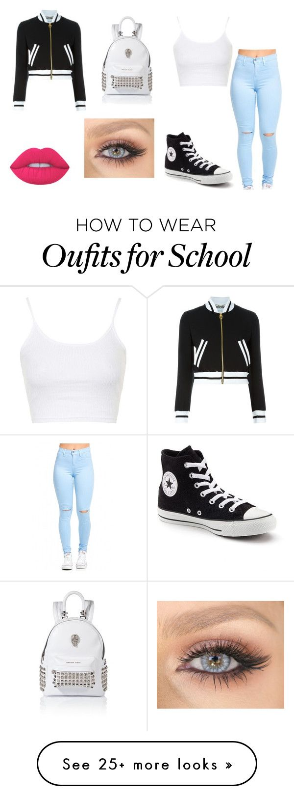 """""""School"""" by katniss-everdeen-578 on Polyvore featuring Moschino, Topshop, Converse and Lime Crime"""