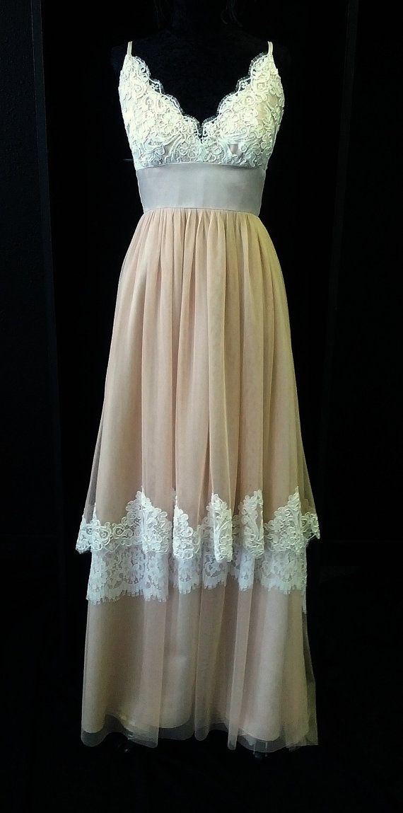 Blush pink lace boho wedding dress by bellavittoria on for Pinterest wedding dress lace