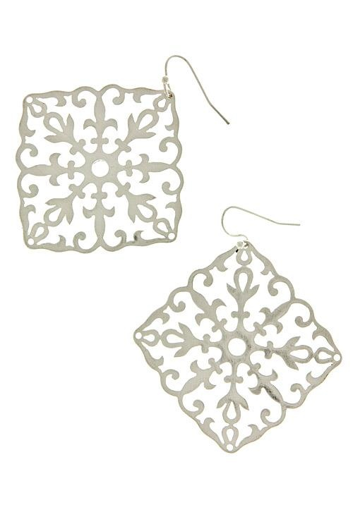 "Silver Fleur De Lis Detail Cut Out Earrings  2.5"" Long  Quantity: 3  $14.00"