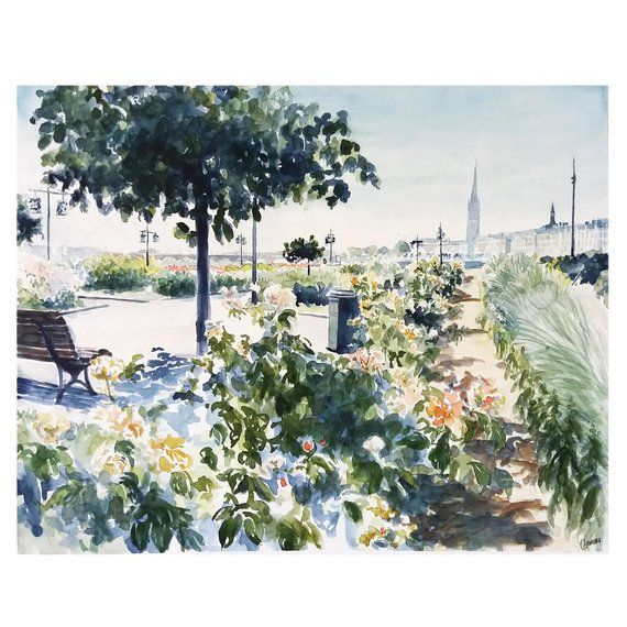 Original Watercolor Burgundy Table Docks Garonne Architecture