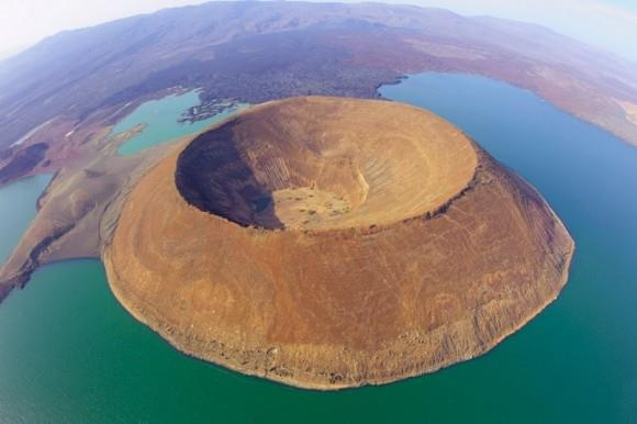 An aerial view of Nabiyotum Crater in Lake Turkana – the world's largest desert lake and the world's largest alkaline lake...