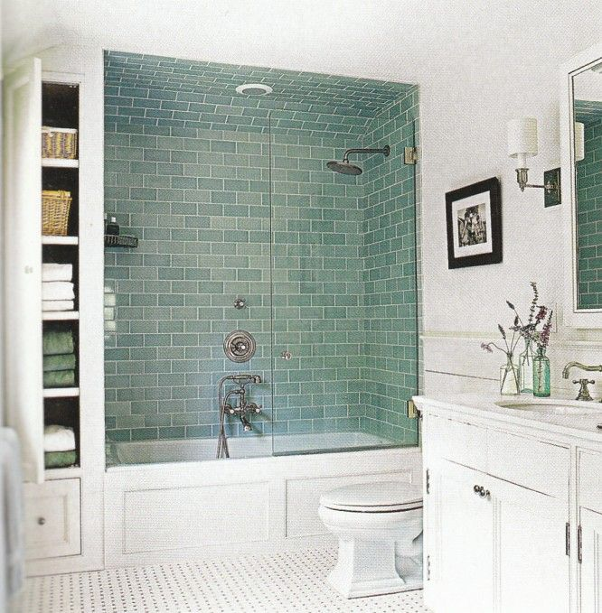 'Frosted Sage' Green Glass subway tiles.
