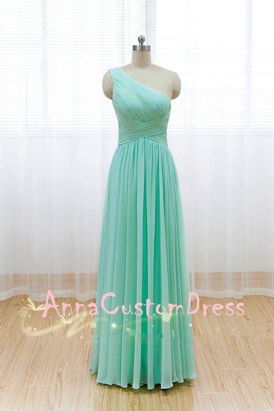 One-shoulder Long Mint Chiffon Bridesmaid Dress