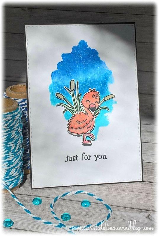 carte aquarelle bébé flamand rose watercolorcard flamingo baby #clearlybesotted #scrap #card #watercolor #secretsdelina