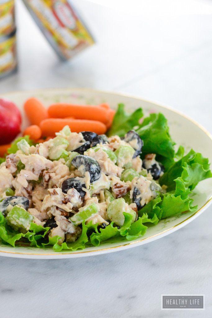 Thanks to @AHLFM you can make a tasty, gluten free chicken salad with HORMEL®  premium chicken breast in 5 minutes.