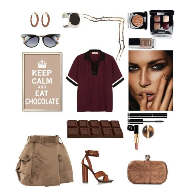 chocolate & wood by violavintage on Polyvore featuring polyvore fashion style Marni Marc Jacobs Gucci Alexander McQueen Chloé Ralph Lauren Aurélie Bidermann Fendi Chanel
