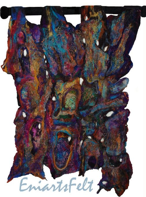 Abstract felt textured wall hanging Patinated