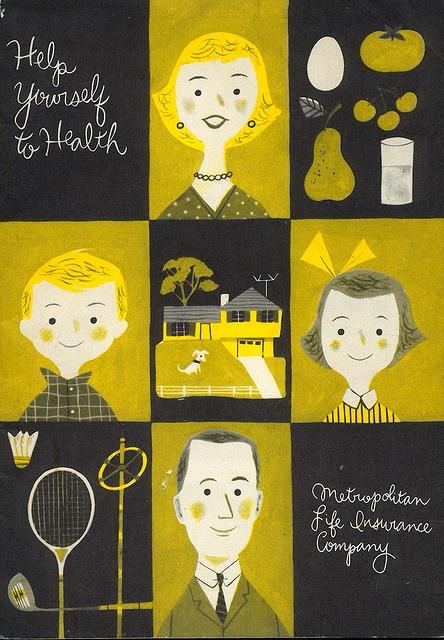 Metropolitan Insurance pamphlet cover by JP Miller. 1956: Books Covers, Chalkboards Design, Covers Books, Illustration, Modern Graphics Design, Pamphlet Covers, Metropolitan Insurance, Graphics Design Posters, Insurance Pamphlet