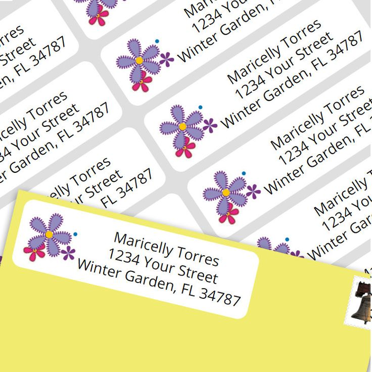 800 Personalized Return Self-adhesive Address Labels - Purple Flowers Stiched by MaricellysShop on Etsy