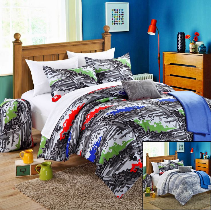 Chic Home Techno 8-Piece Comforter Set Twin Size Xtra-Long, Shams Decorative Pillows and Sheet Set Included. #Backtoschool #LuxBed #Dorm #Bedding #Student