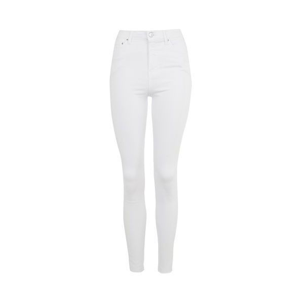 TopShop Moto White Raw Hem Jamie Jeans (37 CAD) ❤ liked on Polyvore featuring jeans, white, denim skinny jeans, rock n roll jeans, high rise jeans, high waisted jeans and high-waisted skinny jeans