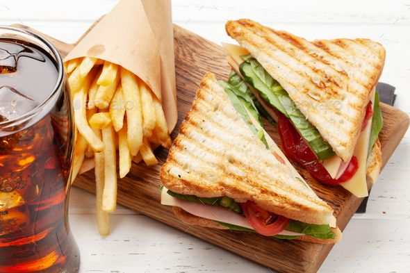Club Sandwich Potato Fries Chips And Cola In 2020 Club Sandwich Fried Potatoes Sandwiches