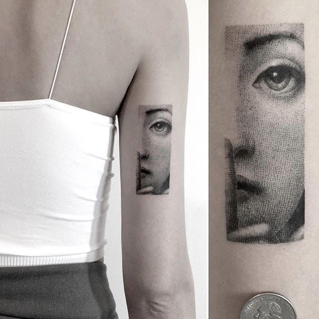 Fine line tattoo by Sanghyuk Ko. SanghyukKo bangbangnyc newyork fineline singleneedle pointillism woman