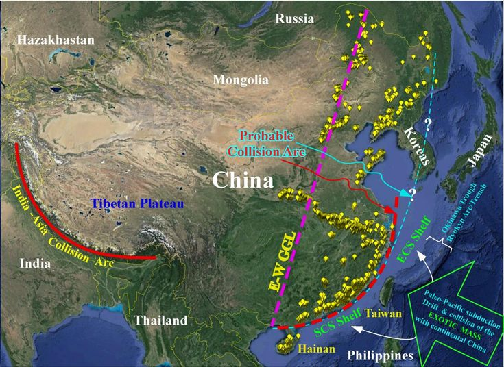 Chinese continental shelf of exotic origin collided with continental China 100 million years ago