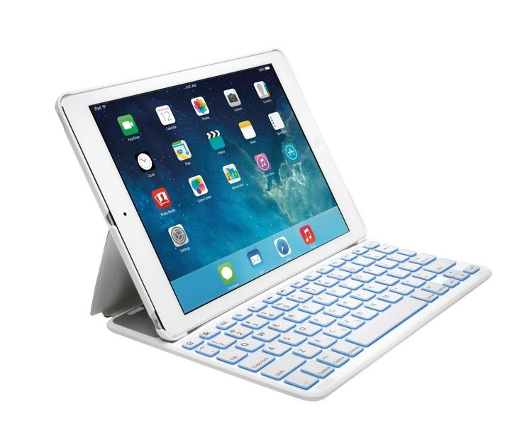 Kensington K97392ES - Funda con Teclado Español Retroiluminado para Apple iPad Air 2, Blanco