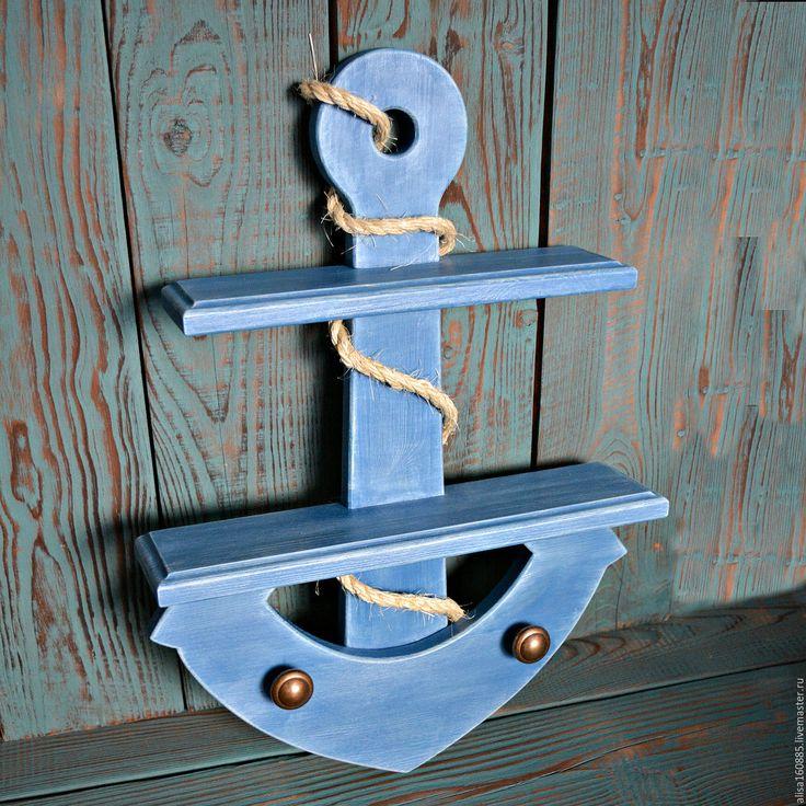 Купить Полка-Якорь.Морской стиль.Голубой. - голубой, полочка якорь, якорь, полочка на кухню