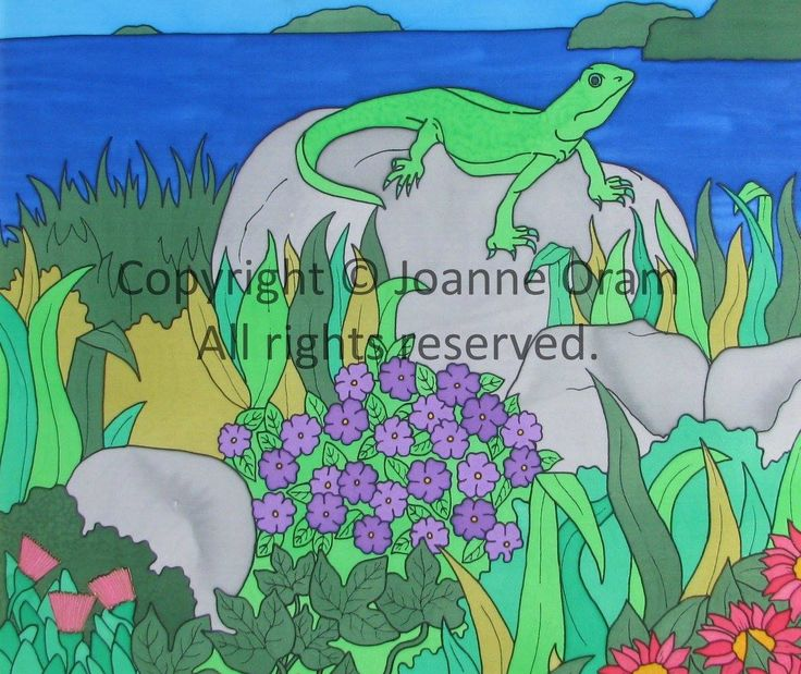 Vibrant silk painting of new Zealand's green gecko sunbathing on the rocks, original available in store or buy canvas, print, cushions and more at www.naturespalette.co.nz