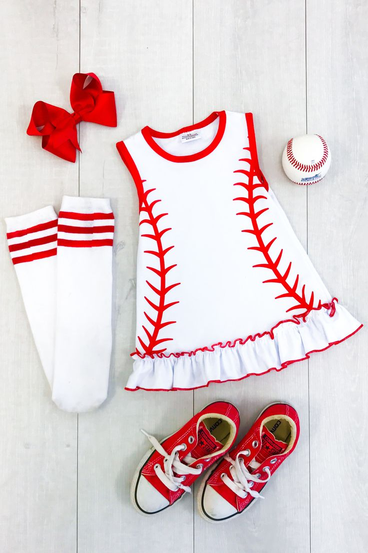 """""""Pitch"""" Perfect Baseball Dresses from Sparkle in Pink Our baseball cotton dresses have to be one of the most adorable dresses we have seen and a one of a kind! This baseball dress is so trendy and perfect for any baseball game, party, or event! Be the star of the show in this eye catching adorable baseball dress!"""