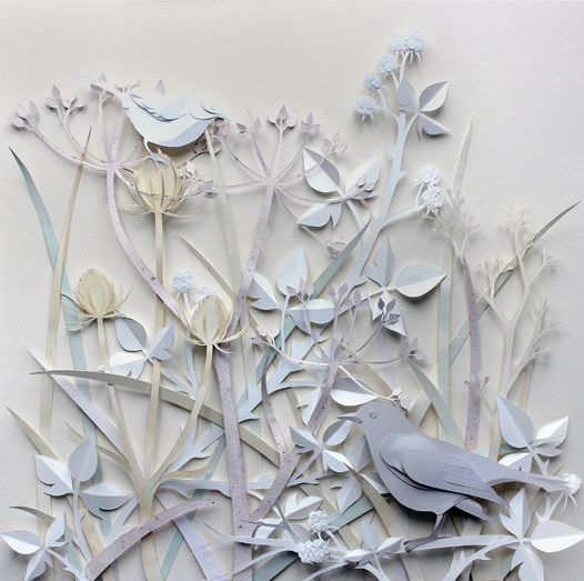 Ghost Hedgerow Sculptures of birds, foxes, flowers made from paper by Helen Musselwhite