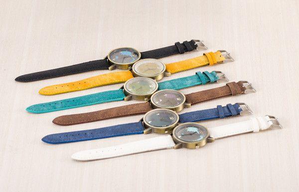 Fashion Earth Map Design Bronze Round Case Fabric Quartz Watch