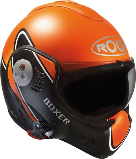 Casque modulable Roof Boxer V8 2012 en version Devil orange et noire /// Roof V8 modular helmet in Devil version, orange and black.