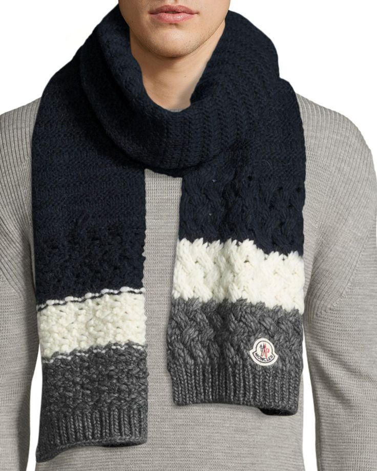 Moncler cashmere ribbed-knit scarf. Striped chunky cable-knit ends. Made in Italy.