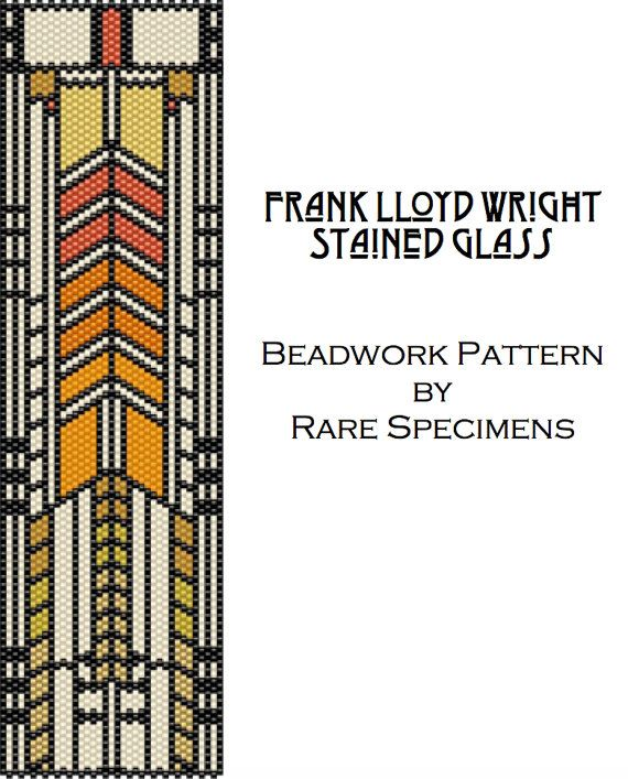 This is a PDF file download of a peyote stitch pattern I made based on one of Frank Lloyd Wrights stained glass windows. This is a pattern only, NOT a tutorial. Knowledge of flat odd-count peyote stitch is required. Pattern downloads include a bead color legend, a labeled graph, a word chart, and a picture of what the finished piece should look like. The pattern uses 9 colors of Miyuki Delica size 11 cylinder beads. Create your own color combinations!  Finished dimensions are approx. 6.9…