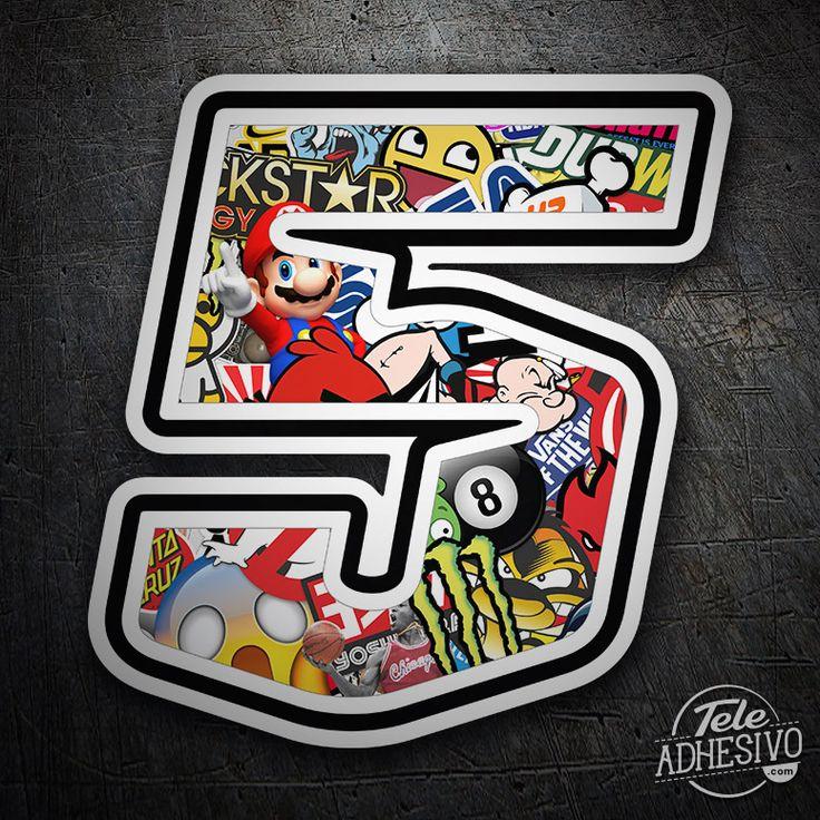Pegatinas: Número 5 Speed Stickerbomb #pegatinas #numero #adhesivo #decoracion #moto #coche #TeleAdhesivo