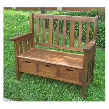 International Caravan Acacia Outdoor Patio Bench With Drawers