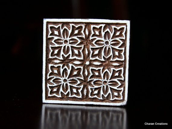 Hand Carved Indian Wood Textile Stamp Block by charancreations: Hands, Stamp Block, Square