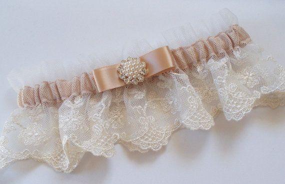Liga de oro rosa y TOSS Liga de novia en encaje marfil en