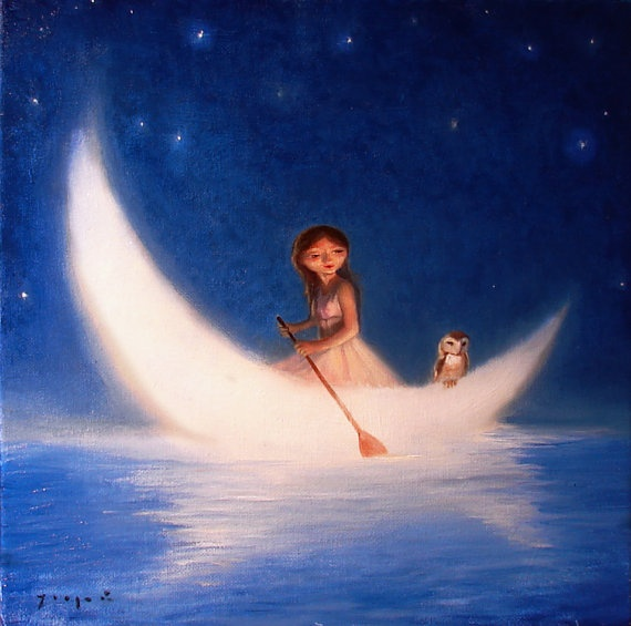 Moon boat. love this art work!! Especially the little owl on the back of the boat!