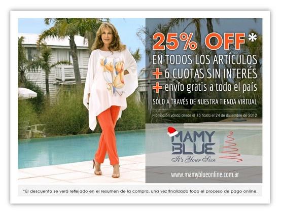 Promoción 25% OFF Tienda Virtual, Mamy Blue.