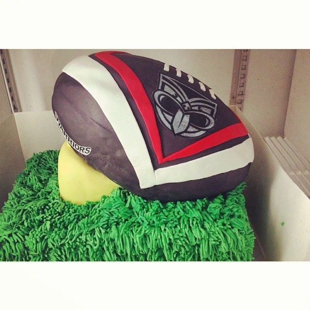 Vodafone Warriors inspired football cake on a tee #Cake #Warriors #Ball