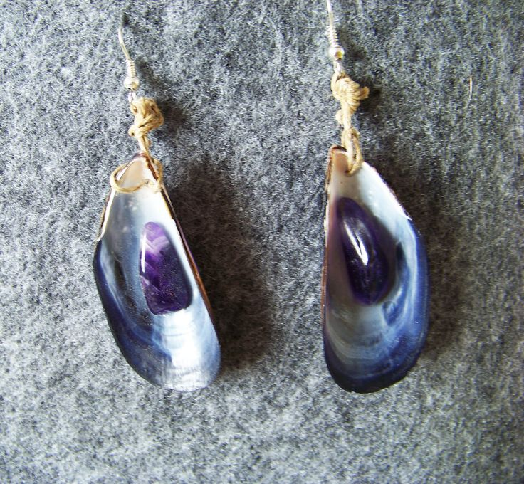 Shell earings. Tribal jewelry. Boho. Hippie. Shell, purple agate and string.