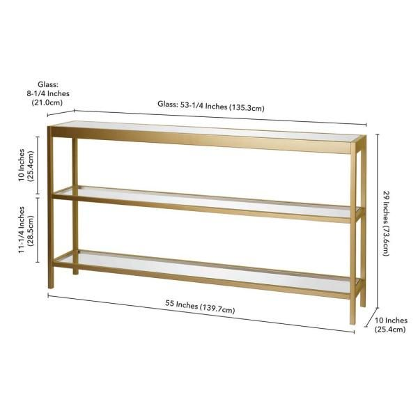 Meyer Cross Alexis 55 In Brass Rectangle Glass Console Table With Storage At0234 The Home Depot Brass Console Table Glass Console Table Console Table