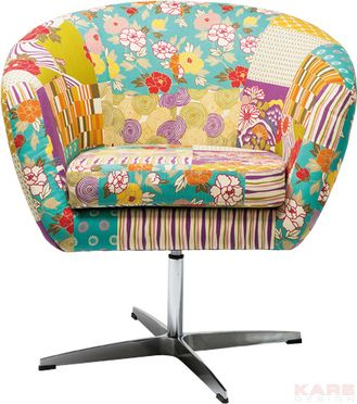 Swivel Chair Patchwork Flower Power