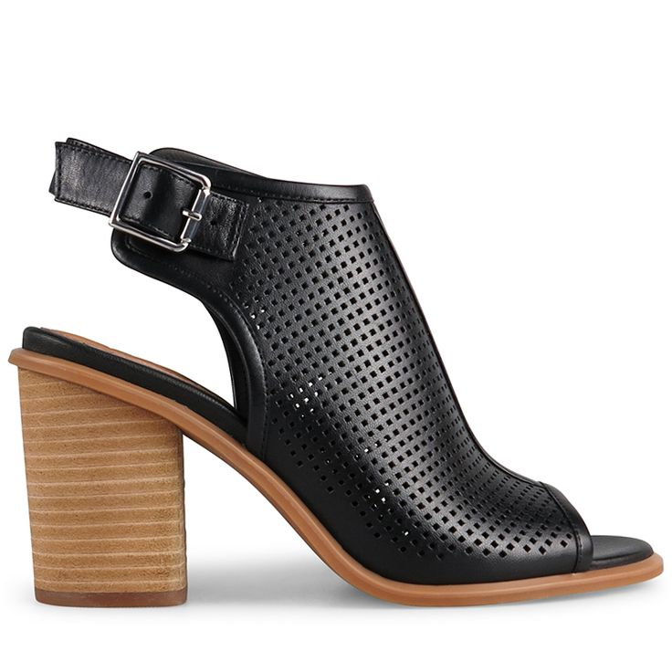 This gorgeous peep-toe bootie is crafted from rich black perforated leather and features a classic slingback. Florentin has an 9cm* sculpted…
