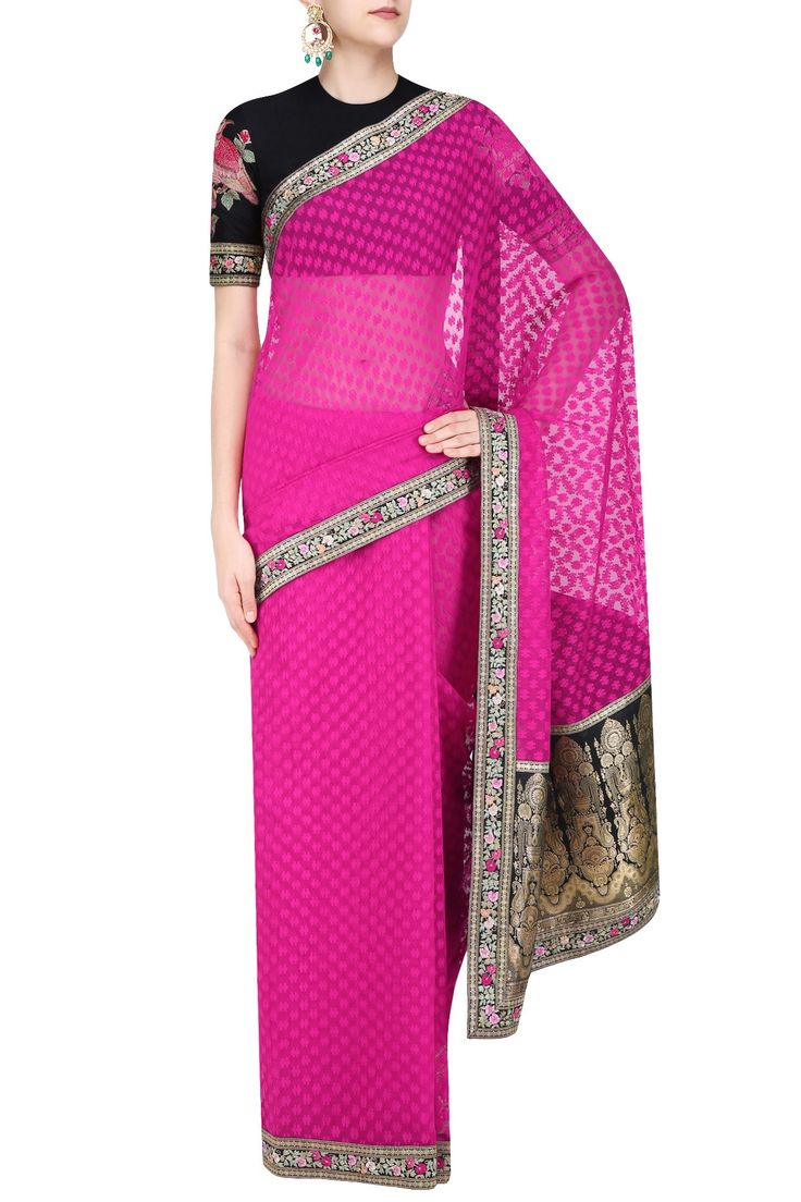 SABYASACHI Dark pink and black cutwork brocade pallu saree with embroidered blouse piece…